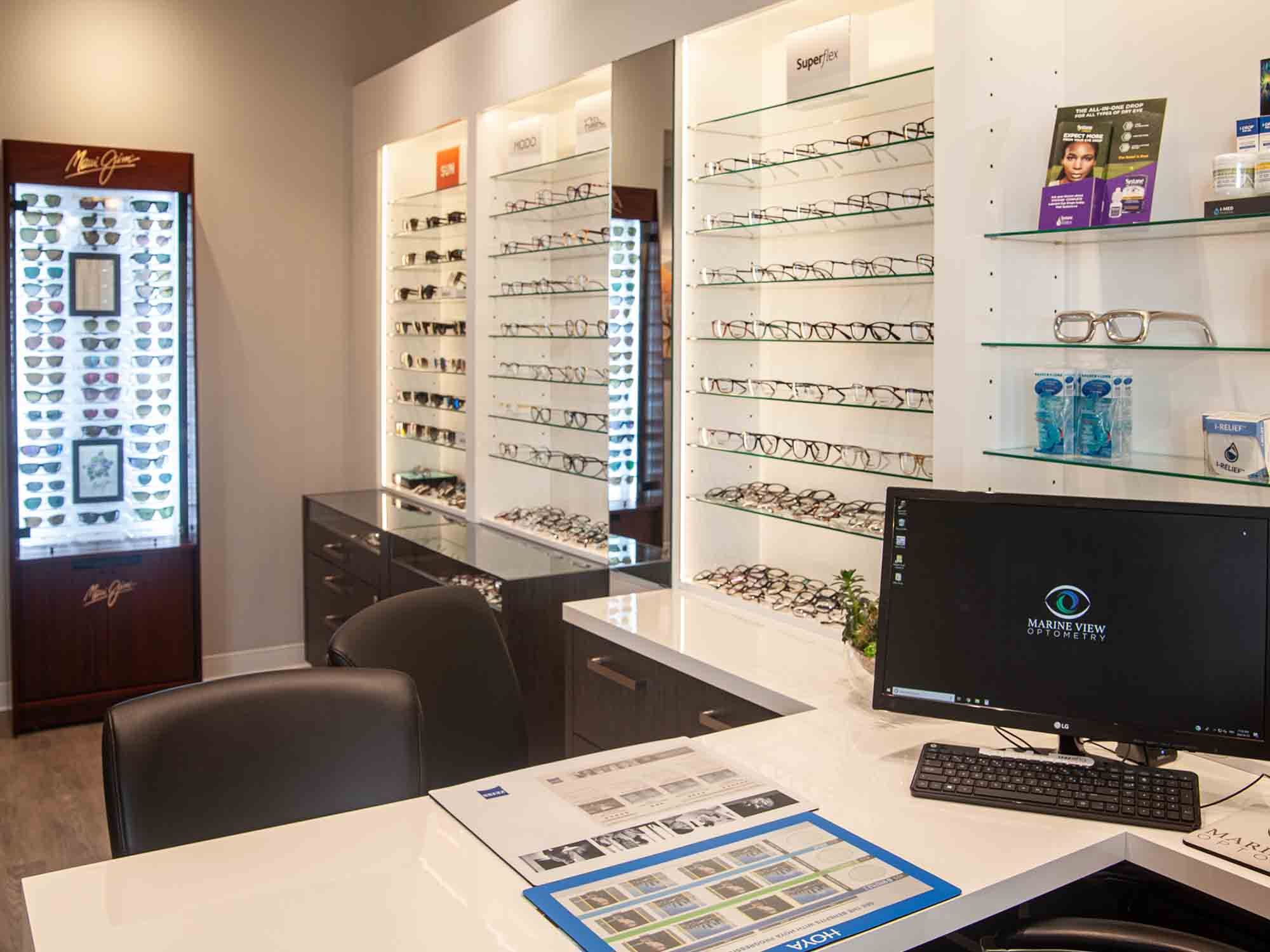 Marine View Optometry glasses display