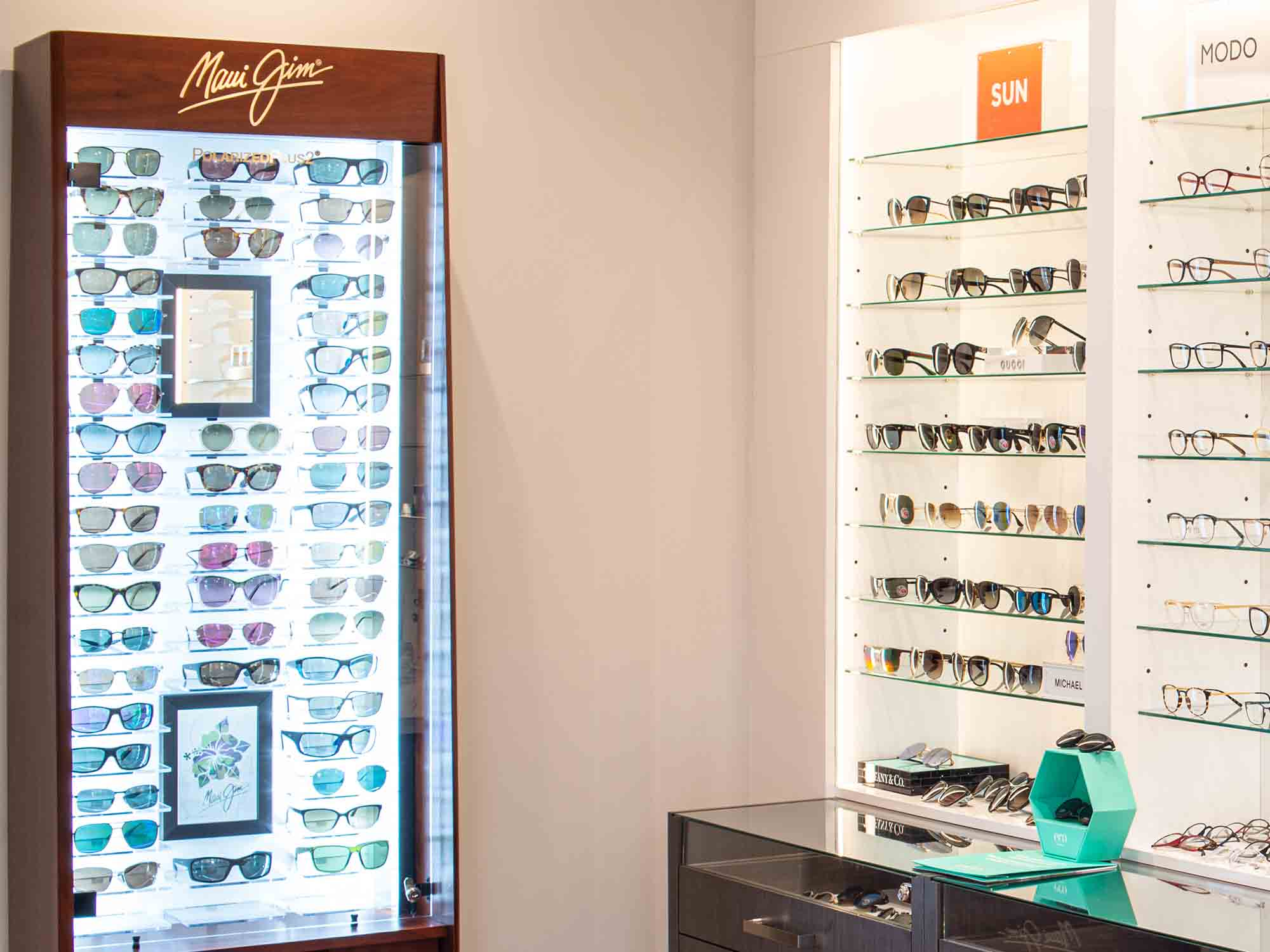 Marine View Optometry sunglasses display